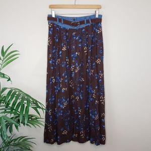 Vintage Capacity | Brown Blue Floral Maxi Skirt